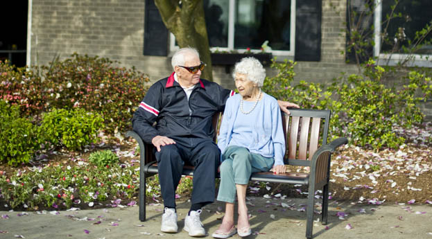 Senior living in Royal Oak has a beautiful courtyard in which to enjoy the outdoors