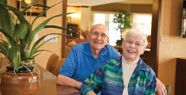 Senior living residents at Corona apartments