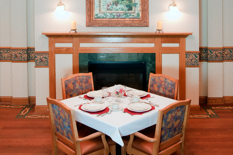 Fire place dining at senior living community in Woodbury, MN