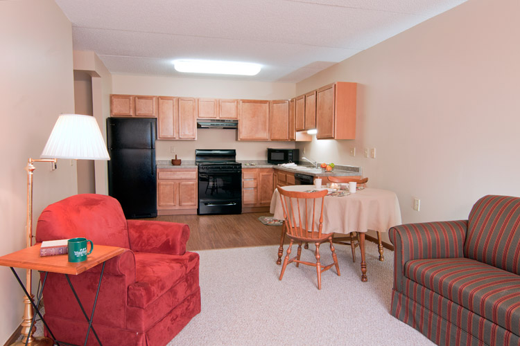 Fully equipped kitchen at Woodbury Senior Living community