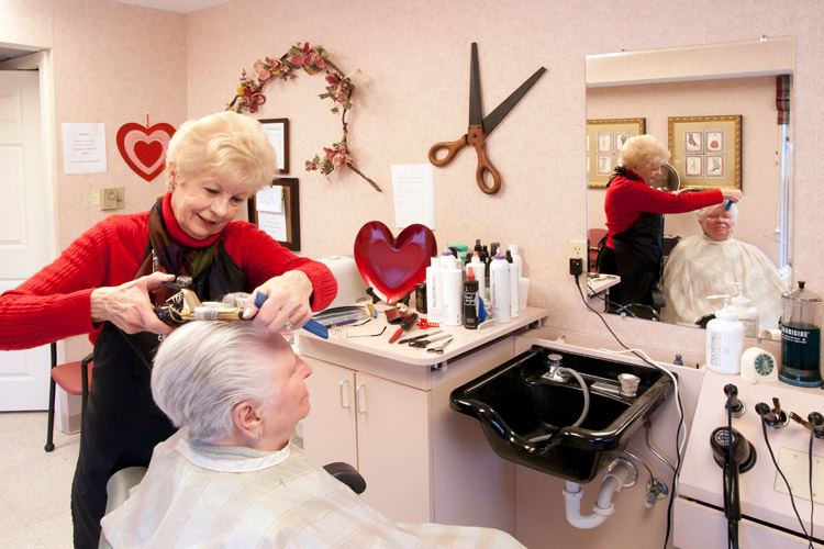 Hair salon featured at Woodbury Senior Living community
