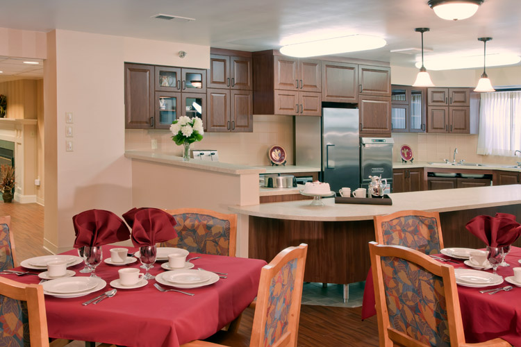 Kitchen and dining area featured at senior living community