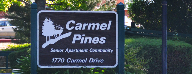 Welcoming sign at Carmel Pines