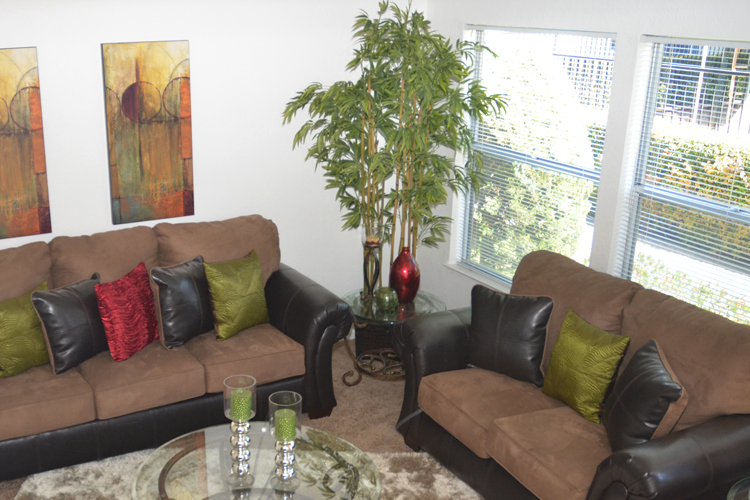 Stylish living room featured at Fremont townhome community