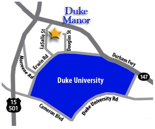 Directions from Duke Manor to Duke University.