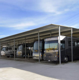 RVs being stored at Private Mini RV and Boat storage