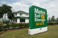 Welcoming entry sign for S. Belcher Largo, FL storage units at Metro Self Storage.
