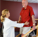 Nurse and patient physical therapy at Bartley Healthcare NJ