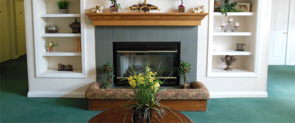 Fireplace at a lakeland fl senior living community