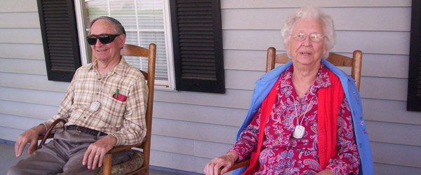 Newnan ga senior living residents relaxing on the porch