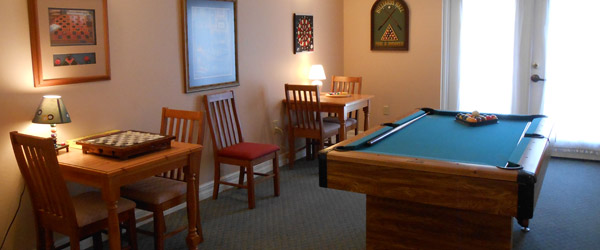 Orange city fl senior living billiards room