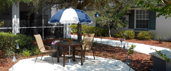 Patio at an orange city fl senior living community
