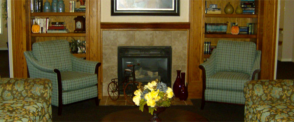 Fireplace at oviedo fl senior living