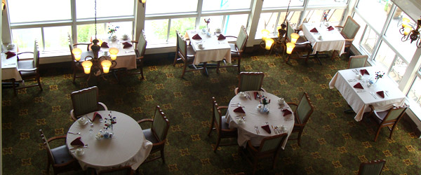 Aerial view of the dining room at a senior living willow grove