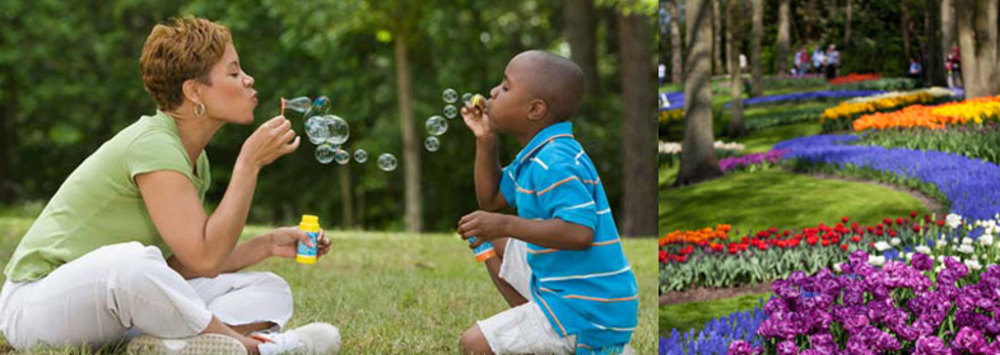 Blowing bubbles flowers