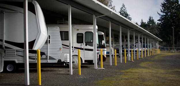 Covered RV parking is available at self storage in Washington