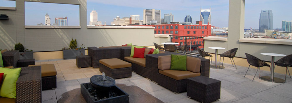 Rooftop lounge at Velocity in the Gulch