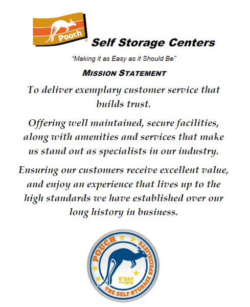 Pouch Self Storage Mission Statement