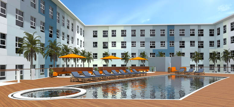 Swimming pool rendering at apartments in College Station