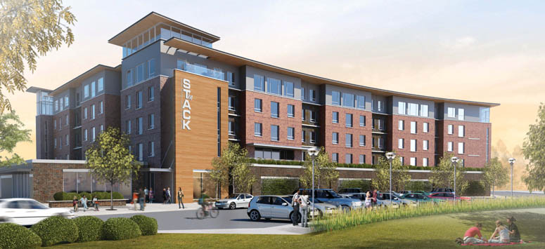 Exterior rendering of student apartments in College Station