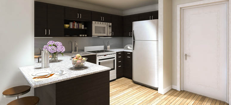 Student apartments in College Station have modern kitchens