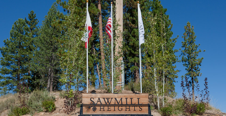 Sawmill sign for truckee apartments