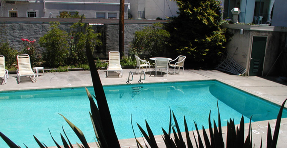 Hang out at the pool and patio at Berkeley apartments