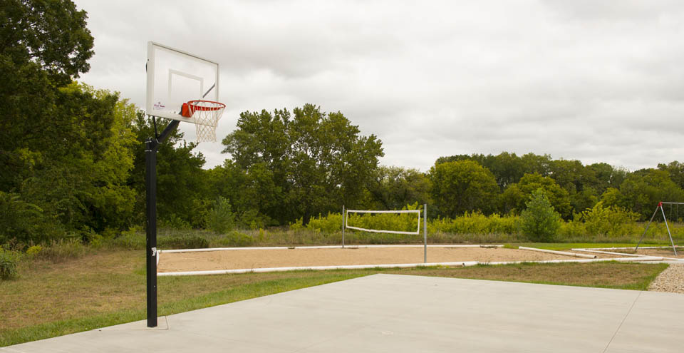 Shoot hoops at the Manhattan apartments basketball court
