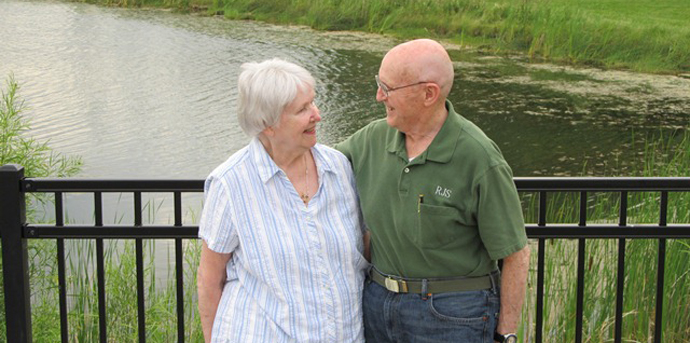 Couples enjoying the river at senior living in romeoville il