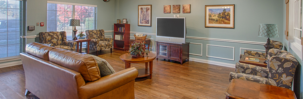 Living area at assisted living in desoto tx