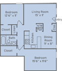 The flooplan for 2 Bed / 1 Bath