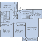 The flooplan for 3 Bed / 2 Bath