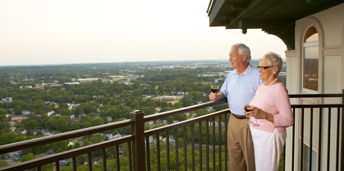 Residents on their balconies of senior living cincinnati