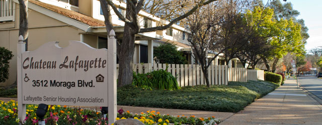 Welcoming entry at Chateau Lafayette senior living community