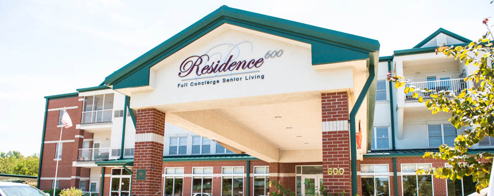 Exterior of Residence 600, an Overland senior living community