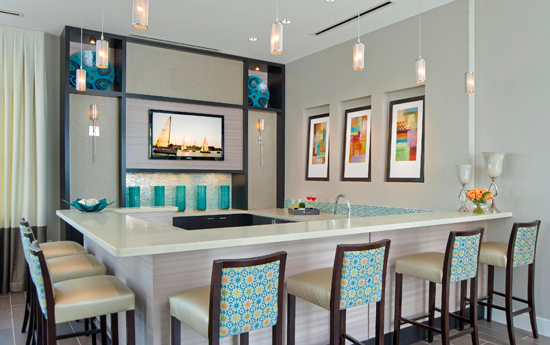 Clubhouse bar at Chesapeake apartments VA