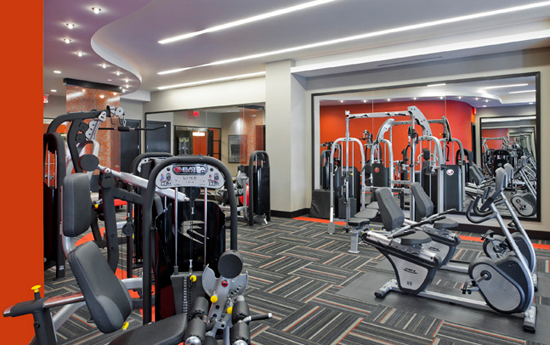 Fitness center at apartments in Silver Spring