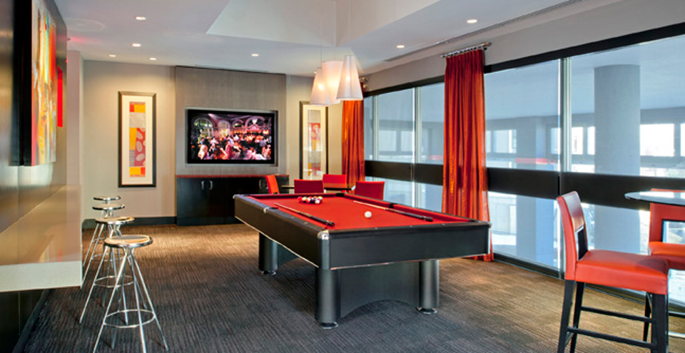 Billiards room at Silver Spring apartments
