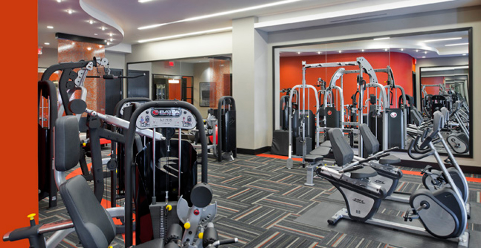 Fitness center at Silver Spring apartments MD