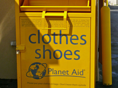 Planet Aid drop box at pouch self storage