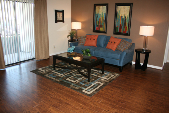 Hardwood floors in a living room in Hoover apartments