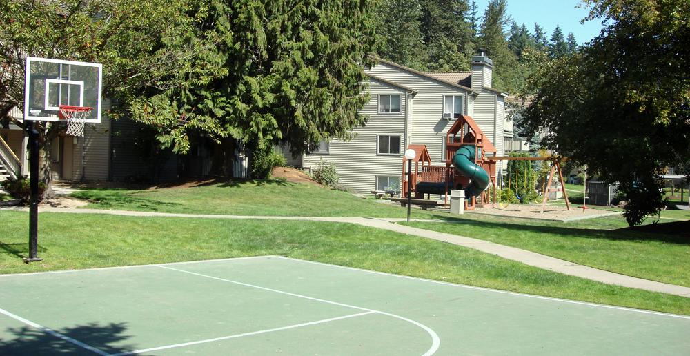 Basketball and playgound at apartments in Redmond WA
