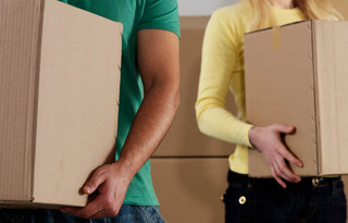 Couple moving into self storage