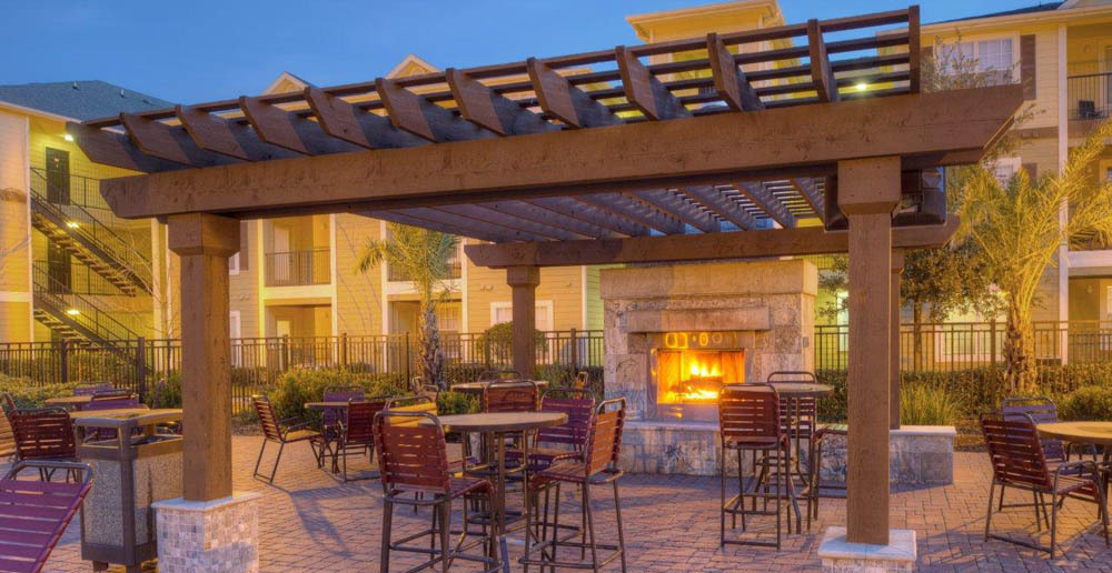 Dining fireside patio at student apartments in college station