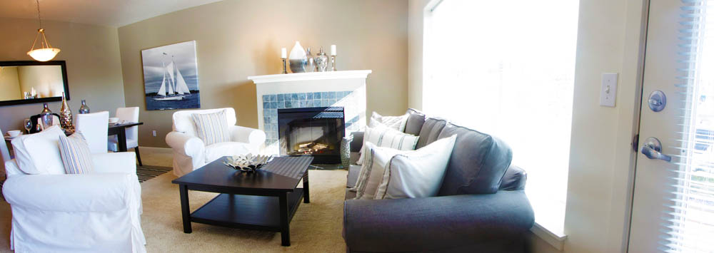 A warm fireplace adorns our luxury apartments in portland