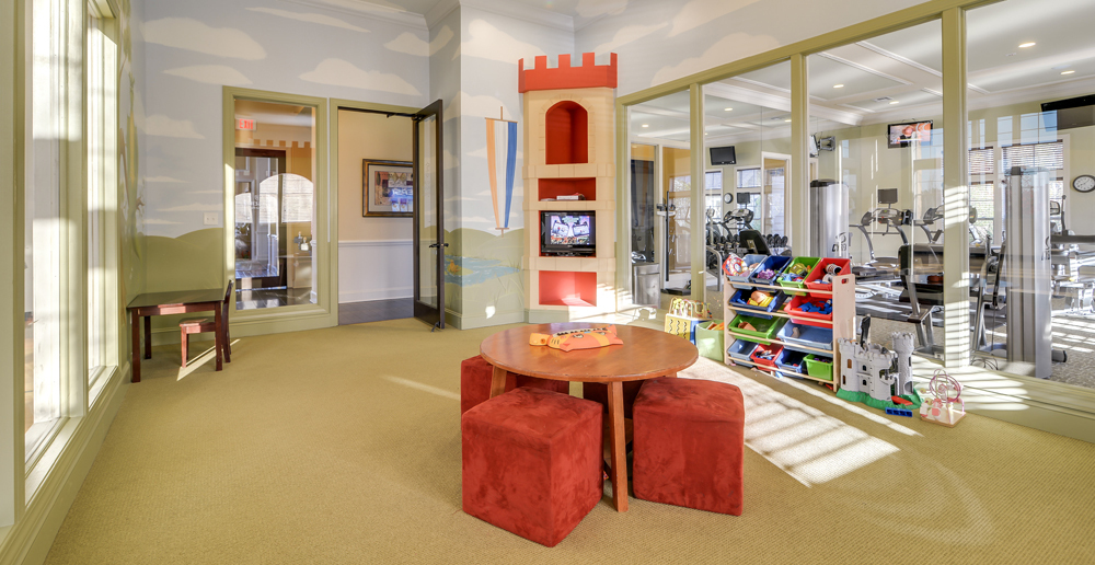 Playroom attached to the gym at apartments in Memphis