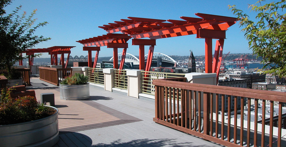 Rooftop terrace at Seattle senior living