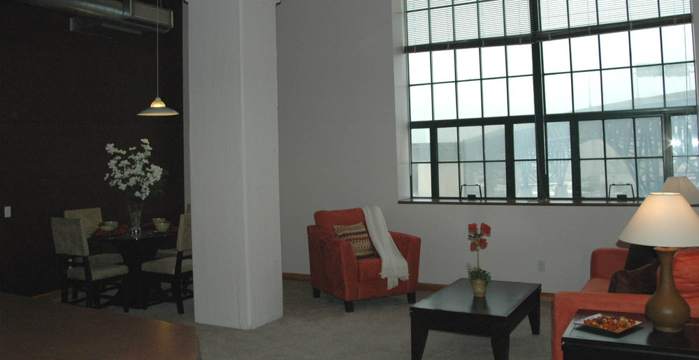 Living room and dining room at apartments in Cleveland