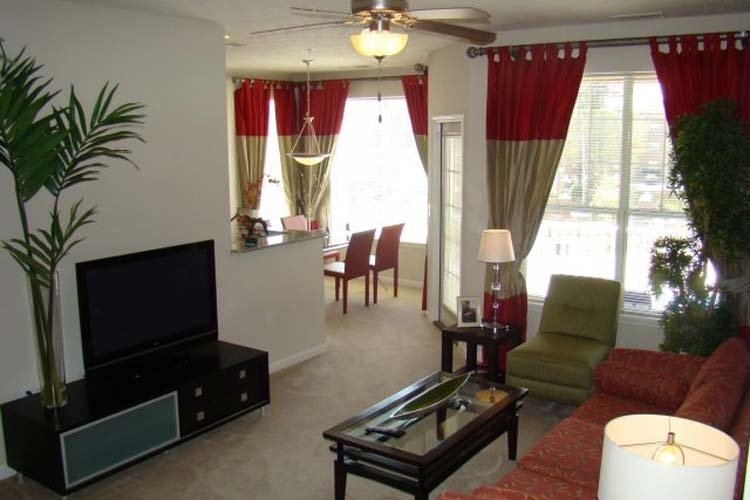 Living room at apartments in Fayetteville