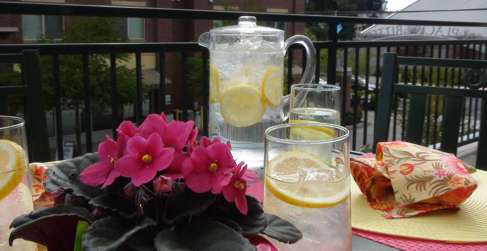 Drink lemonade outside at apartments in Seattle